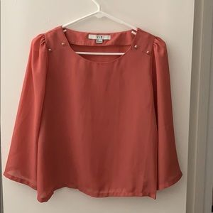 Forever 21 loose chiffon coral long sleeve button